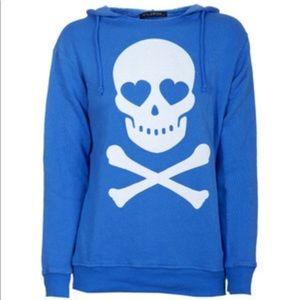 Wildfox Skull & Crossbone Heart Hoodie Sweatshirt
